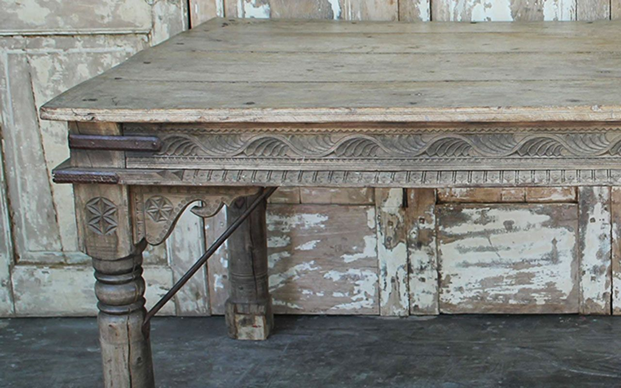 Antique Thakat Dining Table In Bleached Wood Thar Desert
